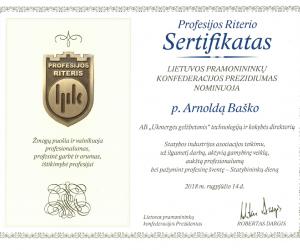 Profesijos riterio sertifikatas